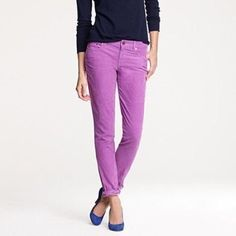 "Violet J. Crew Toothpick Cord PRODUCT DETAILS A fresh (and fabulous) update to our favorite toothpick cord—we removed the ankle zippers for a more tailor-friendly fit and tweaked the fabric slightly (but kept the flattering stretch) so it takes color like a champ.  Cotton/elasterell. Sits lower on hips, with a skinny, cropped leg. Traditional 5-pocket styling. 28"" inseam. Machine wash. J. Crew Jeans Ankle & Cropped"