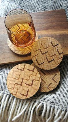 Wood Coasters, Engraved Wood Coasters, Herringbone  Coasters by GrainDEEP