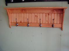 Wood Coat Rack Wall Shelf Pine Wall Rack by appletreewoodcrafts