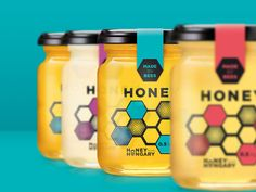 Creative Agency: Royal Rocket Graphic Designers: Ferenc Hetsch, Abigél Albu Project Type: Produced, Commercial Work Client: Honey from H. Organic Packaging, Honey Packaging, Soap Packaging, Brand Packaging, Honey Jar Labels, Honey Label, Soap Labels, Honey Jars, Label Design