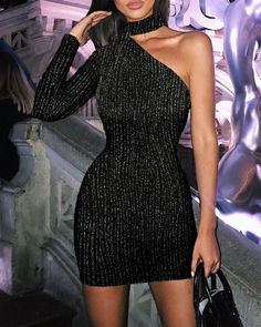 Glitter One Shoulder Bodycon Dress Women's Online Shopping Offering Huge Discounts on Dresses, Lingerie , Jumpsuits , Swimwear, Tops and More. Bodycon Dress Formal, Sequin Dress, Sequin Outfit, Night Outfits, Dress Outfits, Fashion Dresses, Pretty Dresses, Beautiful Dresses, Club Dresses