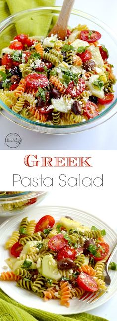 Greek pasta salad is a tangy and fresh dish that is perfect for a picnic or barbecue. | APinchOfHealthy.com