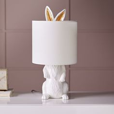 Ceramic Nature Rabbit Table Lamp, White at West Elm - Table - Light Fixtures - Home Lighting Bedside Table Lamps, Bedroom Lamps, Lamp Table, Desk Lamp, Wall Lamps, Ceiling Lamps, Bedroom Decor, West Elm, Bunny Lamp