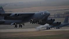 B-52H Stratofortress assigned to Air Force Global Strike Command (AFGSC) takes off from the flightline at Minot Air Force Base, N.D., Oct. 30, 2016, during exercise Global Thunder 17. AFGSC supports U.S. Strategic Command's (USSTRATCOM) global strike and nuclear deterrence missions by providing strategic assets, including bombers like the B-52 and B-2, to ensure a safe, secure, effective and ready deterrent force.