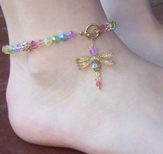 Dragonfly Beaded Anklet - Birthstones & 28 More Swarovski Colors. $44.00…