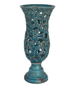 Look what I found on #zulily! Turquoise Distressed Pierced Vase by Three Hands Corporation #zulilyfinds