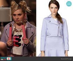 Chanel 5's purple moto jacket on Scream Queens.  Outfit Details: http://wornontv.net/53048/ #ScreamQueens