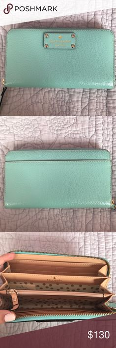 """Authentic NWT Kate Spade Wellesley Neda Wallet NWT. Mint colored. Measures 7.6""""L x 3.9""""H x 0.8""""W kate spade Bags Wallets"""