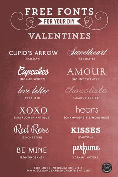 Free Fonts for your DIY Valentines -- tough decision for which one to choose, they're all so sweet!