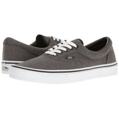 Vans Era ((Suiting) Black/True White) Skate Shoes ($60) ❤ liked on Polyvore featuring shoes, sneakers, vans sneakers, lace up sneakers, black shoes, lace up shoes and black sneakers