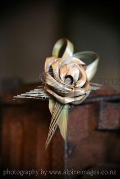 Artiflax - weddings - Flax flower corsage photograph by Alpine Images Flower Corsage, Flower Bouquets, Wedding Bouquets, Wedding Flowers, New Zealand Flax, Flax Weaving, Flax Flowers, Gold Decorations, Groom Attire