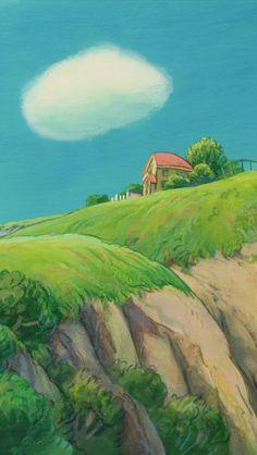 Watercolor Landscape, Landscape Art, Landscape Paintings, Landscapes, Studio Ghibli Art, Studio Ghibli Movies, Personajes Studio Ghibli, Studio Ghibli Background, Gouache