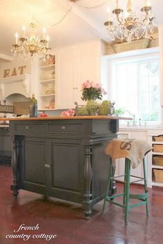 this is a beautiful island. FRENCH COUNTRY COTTAGE: French Cottage Kitchen Inspiration