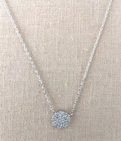 CZ Disc Necklace in Silver