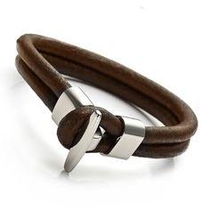 Trendy Brown Genuine Leather Steel Br... $13.90 #bestseller
