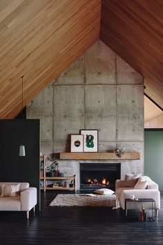 Interior design inspo. Love the concrete wall and the beautiful warm wood!
