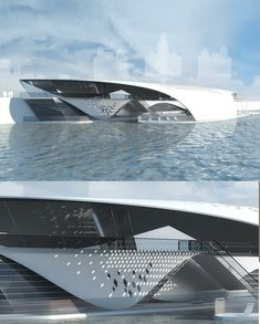 Aqualis is a concept mooring, an innovative replacement of the 15 moorings located in the center of Moscow. Dynamic Architecture, Water Architecture, Concept Architecture, Futuristic Architecture, Amazing Architecture, Architecture Design, Atrium Design, Arch Model, Floating House