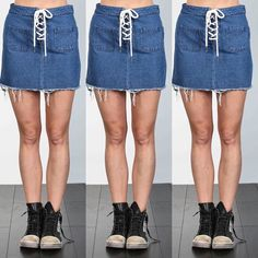 #too cute #denim skirt #have fun #bohemian #laceup @carriesclosetshop #soon