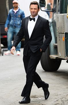 Hugh Jackman defined tuxedo elegance shooting a commercial in Brooklyn May 21.