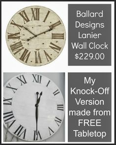 Knock off Ballard Designs Lanier Wall Clock using junk tabletop Follow me for great DIY home decor projects!