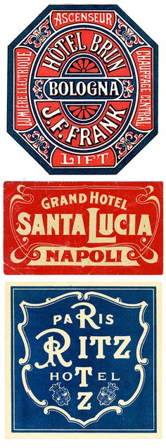 Hotel Brun ~ Bologna, Grand Hotel ~ Santa Lucia Napoli, Ritz Hotel ~ Paris France More Rotulação Vintage, Vintage Ephemera, Vintage Designs, Vintage Graphic, Luggage Stickers, Luggage Labels, Vintage Luggage Tags, Santa Lucia, Vintage Typography