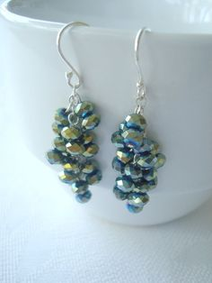 Gorgeous Green Crystal Earrings with Sterling by SonseraeDesigns, $12.00