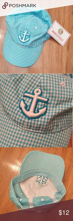 Marley Lilly Anchor Baseball Hat Brand new, never used. Pretty blue and white pattern. Adjustable. Marley Lilly Accessories Hats