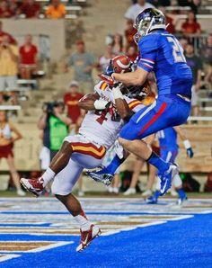 Tulsa's Thomas Roberson comes down with a  touchdown reception as Iowa State's Sam Richardson