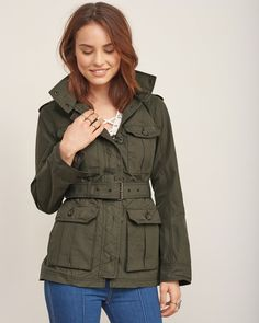 A military-inspired style staple made from water and wind-resistant fabric with cargo pockets, zipper and button closure and a removable waist belt.