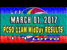 PCSO MidDay - 11AM RESULTS MARCH 01, 2017 (EZ2 & SWERTRES)