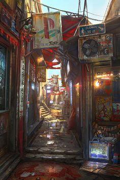 Cyberpunk inspirations and art from my ongoing web comic: The Lightstream Chronicles. 3d Fantasy, Fantasy Landscape, Final Fantasy Artwork, Landscape Art, Landscape Design, Environment Concept Art, Environment Design, Rpg Cyberpunk, Bg Design