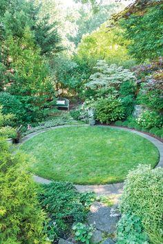 Small Backyard Landscaping, Backyard Ideas, Garden Ideas, Landscaping Ideas, Round Gazebo, Circular Lawn, Side Yards, Front Yards, Eastern Redbud