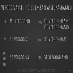 vergognarsi | to be embarrassed, to be ashamed