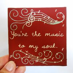 Music Quote Art Miniature Painting For Red Kitchen, Fridge Magnet by Mae2Designs