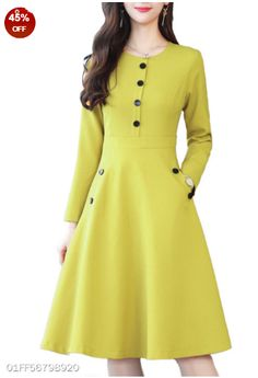 Round Neck Decorative Buttons Patch Pocket Plain Skater Dress - Outfit of the day Cheap Skater Dresses, Cheap Dresses Online, Online Clothes, Dress Online, Fall Dresses, Cute Dresses, Casual Dresses, Dresses Dresses, Casual Outfits