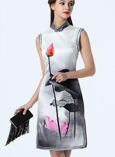 De seda Floral Sin mangas Sobre las rodillas De época Vestidos