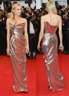 Dianne Kruger in Vivienne Westwood (custom) at #Cannes! Beautiful hair, makeup, and of course, the rose gold dress!
