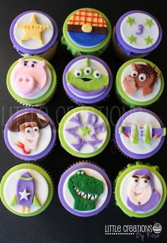 Toy Story Cupcakes for a boys 3rd birthday #buzzlightyear #woody #aliens #bullseye #rex #cupcakes. Cupcakes made by Little Creations By Rose #littlecreationsbyrose www.facebook.com/LCByRose