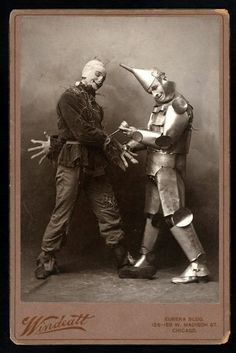 The 1902 stage musical version of Frank L. Baum's The Wizard of Oz debuted in Chicago and then moved on to Broadway.  Featured here are Fred Stone as the Scarecrow and David C. Montgomery as the Tin Man.