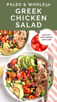 This Paleo Whole30 Greek Chicken Salad is loaded with so much flavor and is a complete meal in a bowl! Healthy, low FODMAP, low carb and incredibly delicious! Salad Recipes Gluten Free, Whole30 Recipes, Cookbook Recipes, Lunch Recipes, Whole Food Recipes, Dinner Recipes, Healthy Recipes, Clean Eating Salads, Eating Healthy