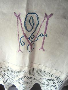 SOLD  Vintage Runner  Vintage Linens  Monogram by JewelsOfHighElegance, $18.00