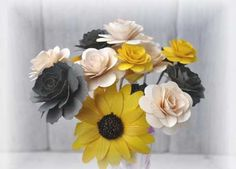 get one set in yellow, one set in purple Wooden Flower With Stems- Two Dozens Wooden Flower Bouquet, Diy Bouquet, Bouquets, Wooden Flowers, Fabric Flowers, Wedding Crafts, Wedding Stuff, Wedding Ideas, Craft Projects