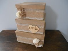 Rustic Burlap Wedding Card Box READY TO SHIP 3 tiered with Lace and Burlap Flowers personalized tag