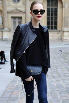 big shades + red lips + black leather moto jacket + long sleeved black shirt + Chanel bag + skinny jeans