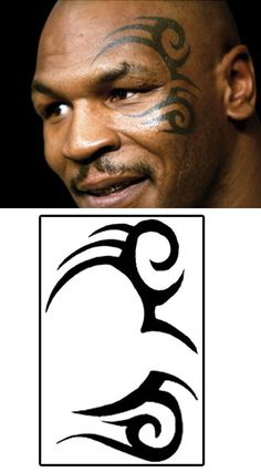 Mike Tyson Tattoo visage tribal - idea for oberon design to be softened with silver glitter plus hair to be gelled like puck