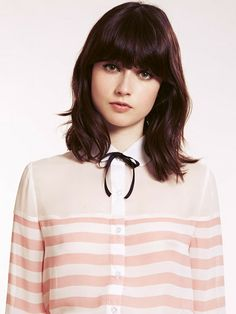 4990fad26 Dahlia Luella Pink Stripy Peter Pan Collar Blouse with Neck Tie