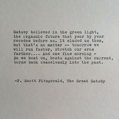 F. Scott Fitzgerald Great Gatsby Quote Hand Typed on Typewriter / Typewriter Quote