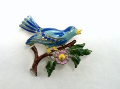 Pot Metal Enamel Brooch 1930's Blue Bird on Branch