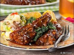 If you like your ribs extra-meaty, then you're going to love these flavorful, Saucy Country-Style Ribs. Country-style ribs are more like a pork chop than a rib, making them meatier and less fatty. Now the question is, will you eat these with a fork o Pork Recipes, Crockpot Recipes, Cooking Recipes, Delicious Recipes, Best Steak Sauce, Country Style Pork Ribs, Pork Ham, Pork Roast, Pork
