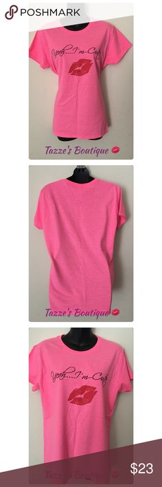 Yeah I'm CuteTeeHP Cute girly tee, various sizes, heavy cotton, 50% polyester 50% cotton, pink. True fit. Price is firmThank you Tazze's Boutique Tops Tees - Short Sleeve